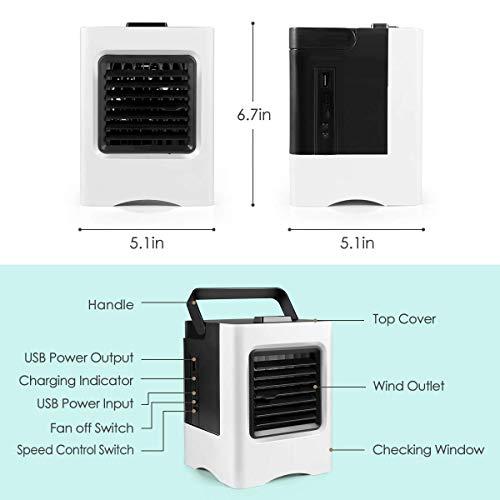 amayituo Recargable acondicionado portátil USB Mini enfriador de aire humidificador purificador de aire ventilador de Cooling Personal ventilador para coche a casa Oficina -