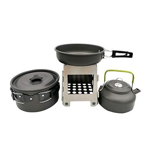Tetera de utensilios de cocina salvaje con estufa de leña Olla de...