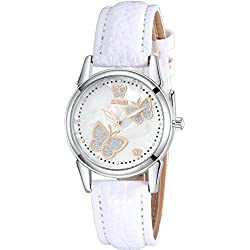 INWET Women's Butterfly Quartz Watch with Mother of Pearl Dial Analogue Display and White Leather Strap