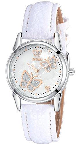 Inwet Damen Schmetterling Quarz Armbanduhr mit Perlmutt Zifferblatt Analoge Anzeigen und Weiß Leder Armband