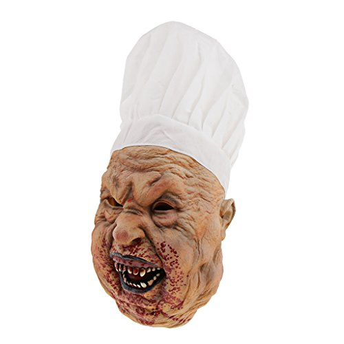 Baoblaze Horrormaske Clown Hexe und Zombie Latex Maske Halloween Cosplay und Karneval Kostüm Accessoires, Eine Größe für alle Menschen, Bequem und Atmungsaktiv - Metzger