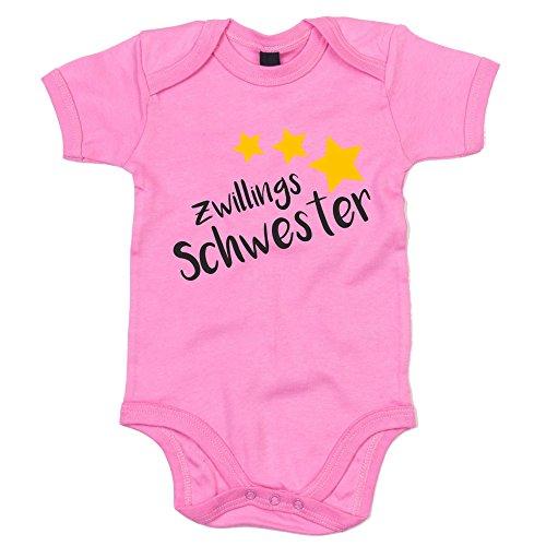 Baby Body - Zwillingsschwester - Sterne - von SHIRT DEPARTMENT, rosa-schwarz, 50-62