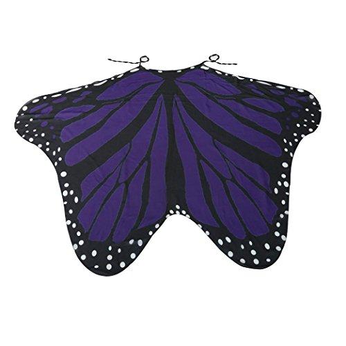 (HLHN Damen Schmetterling Kostüm Erwachsene Flügel Poncho Kostüm Zubehör für Show / Daily / Party (Violett, 185 x 145 cm))