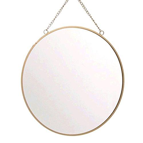 Dcasa - Espejo de pared redondo oro 25 cm