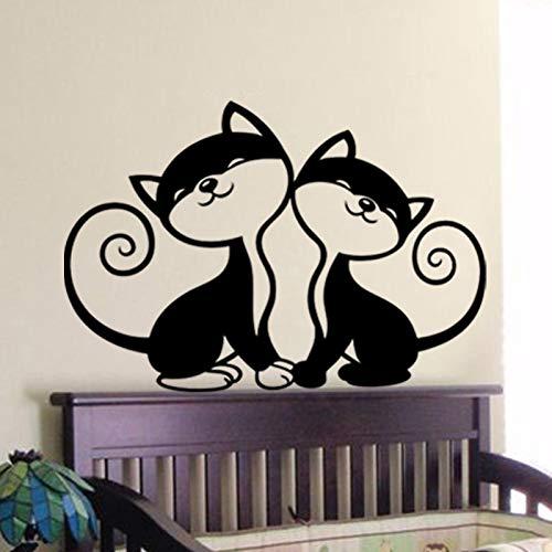 79 * 56cm Zwei Cute Cats Wall Art Stickers Zwei verschiedene Größen Removable Wall Decals Schlafzimmer Baby Nursery Wall Sticker Cat Wallpaper