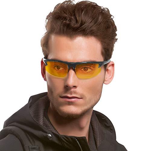 HD Nachtsichtbrille für Herren Autofahren Gelben Sonnenbrille Sport mit Ultra Leicht Metallrahmens Polarisiert Entspiegelten 100% UV400 Schutz (Grau/gelb)