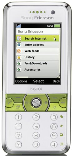 Sony Ericsson K660i UMTS Handy (Quadband, MP3-Player, Bluetooth, MemoryStickMicro-Slot) lime on white
