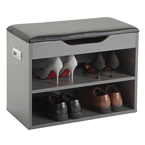 Schuhbank ZAPATO Schuhschrank Sitzbank in grau/schwarzmit Sitzkissen und Klappdeckel, 60 cm breit für ca. 6 Paar Schuhe