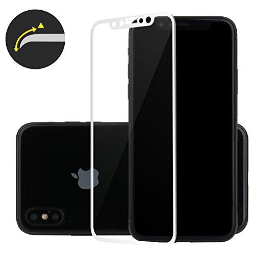 Liamoo® Apple iPhone X 3D Schutzglas / Glas / klares hartes Panzerglas / Displayschutzfolie / 100% Passgenau / Schutz / Kratz / Staub / Stoß - Schutz in weiß weiß