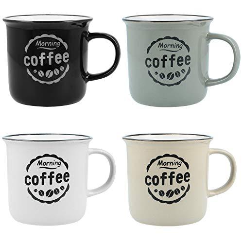 com-four® 4X Kaffeebecher Morning Coffee im Vintage-Design - Kaffeetasse aus Keramik für zu Hause und Büro (04 Stück - Morning Coffee)
