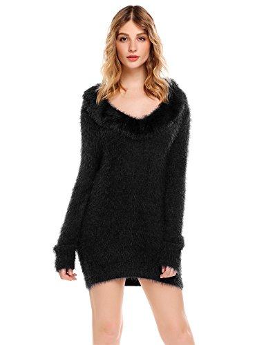 Sexy Pullover Winter Casual Sweatshirt Sweater Oversized Tops T-shirt mit V-Ausschnitt Schwarz EU 44/Size XXL