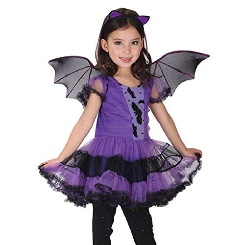 Baby Girls bat Cosplay Dress Witch Clothing Dress+ Headband +Wing 3PCS Kids Party Vampirinas Halloween Costumes for Clothes(5-7 Years)