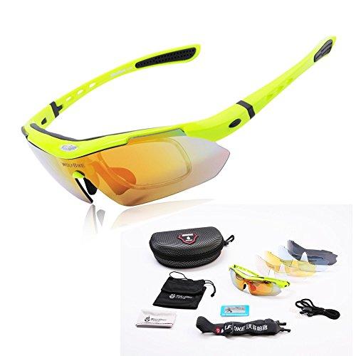 WOLFBIKE BYJ-013 Sonnenbrillen Radsport brille Fahrradbrille f. Außen Skilaufen Radfahren Fahrräder und andere Sport-Schutz mit 5 Wechselobjektiven (Grün)