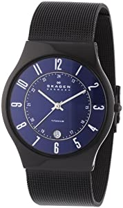 Reloj de caballero Skagen Slimline 233XLTMN de cuarzo, correa de acero inoxidable color negro de Skagen