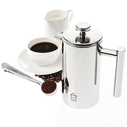 savisto 350ml Kaffeebereiter Set (3Tassen)–PREMIUM Twin, Edelstahl Kaffeemaschine mit 2Jahre Garantie/2in 1Messlöffel mit Tasche Clip & eleganten Geschenkbox [Stahl poliert Finish] (Pro Top-korn)