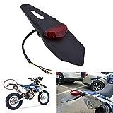 WASTUO Guardabarros trasero con luz trasera de freno LED para motocicleta de motocross, enduro (lente roja)