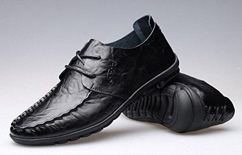 GRRONG Herren Lederschuhe Echtes Leder Art Und Weise Freizeit Black