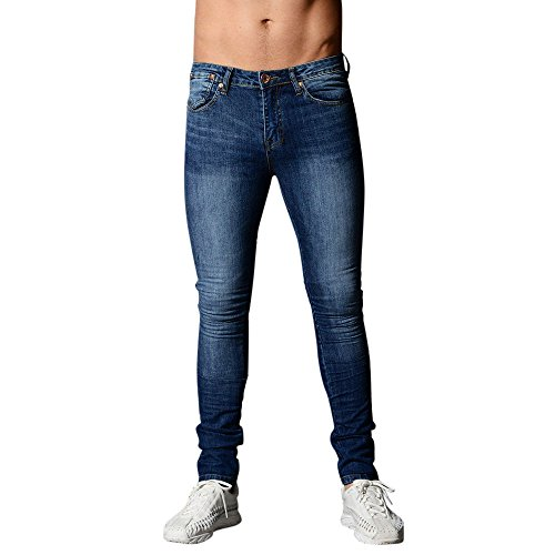 GreatestPAK Schlank Röhrenjeans Herren Jeans Ripped Stretchy Denim Pants Zerstörte gegürtete Hose,Dunkelblau,M (EU 46)