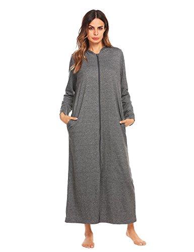 Onbay Damen Langarm Bademantel Nachtwäsche mit Kaputze vorner Reißverschluss Hoodie Morgenmantel Lange Maxi Robe (Langarm-frottee-bademantel)