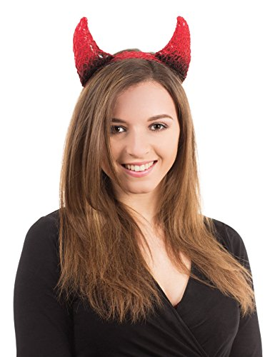 Devil Horns Black/Red On Headband Halloween Fancy Dress Accessory