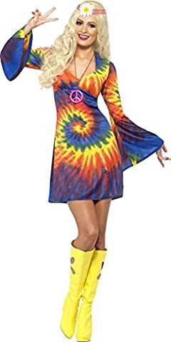 Smiffys, Damen 60er Schnurbatik Kostüm, Kleid, Hippie, Größe: M, 20741