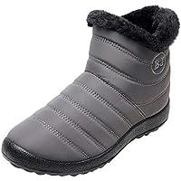 Kinlene Invierno Ofertas Repelente al Agua de Fondo Plano y Botas de Nieve de Terciopelo cálido de Tubo Corto para Mujer Calentar Corto Calzado de Trabajo Zapatos