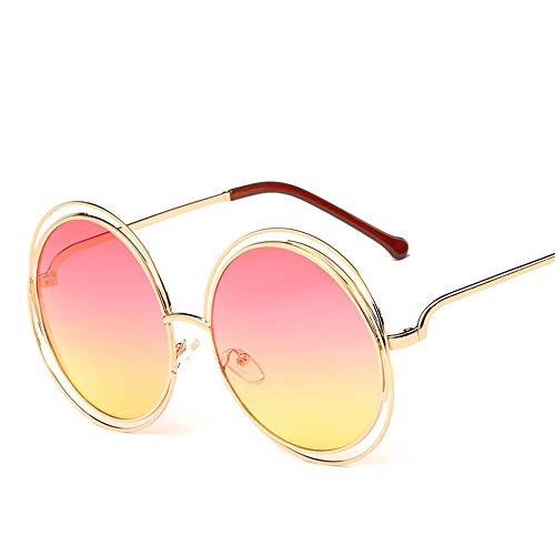 Vintage Sonnenbrille Rundem Hippie Metallrahmen Steampunk Style für Frauen und Männer, Pink/Gelb