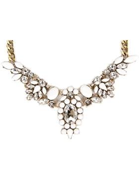 Calonice Amorino Damen Great Gatsby 1920 Vintage Diamanten Statement Kette Halskette Weiß mit Strassteine Strass...