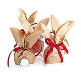 20 Hasentüten ROTE SCHLEIFE Ostern Verpackung Osternest Papiertüte Geschenktüte Geschenkpapier Ostergeschenk Osterpapier natur braun give-away