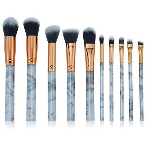 Cdet. 10Pcs Kit De Pinceau Maquillage en Visage et Oeil avec Cosmétiques Brush Ensemble Fondation Mélange Blush Yeux Poudre Brosse Make Up Série de marbre de Grain Or Gris
