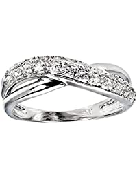 Dainty Crossover Band In 925 Silver, Ring For Women - Size: 14 - By Ornate Jewels