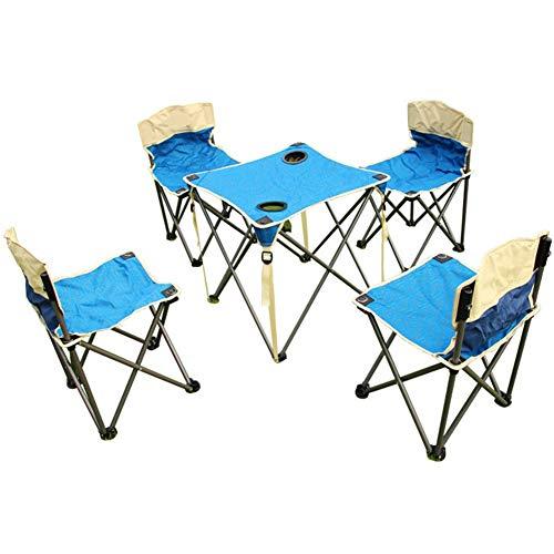 GWM Computer Armoires Outdoor Klapptisch und Stuhl Set Angelstuhl Hocker Tragbarer Picknicktisch Tisch Stuhl 1 Tisch 4 Stühle Blue Tables+Chairs -