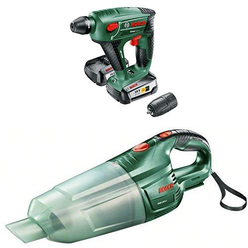 Bosch DIY Akku-Bohrhammer Uneo Maxx + Akku Staubsauger PAS 18 LI (ohne Akku, 3 Düsen, Verlängerungsrohr, Filtereinheit, Karton, 18 Volt System)