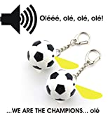 Fussball Schluesselanhaenger 2er Set mit LED-Lampe und Sound Olééé, olé, olé, olé! - We Are The Champions, olé!