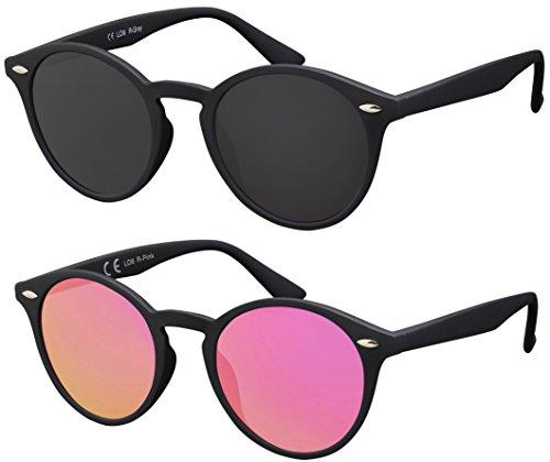 La Optica UV 400 Damen Runde Sonnenbrille Rund - Doppelpack Rubber Schwarz (Gläser: 1 x Grau, 1 x Rosa/Pink verspiegelt)
