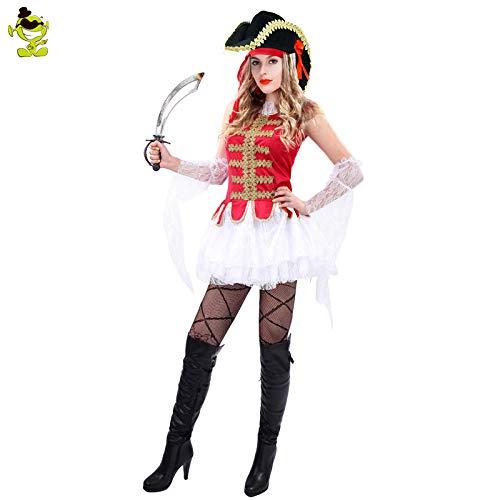 GAOGUAIG AA Alter Karibik Piraten Kostüme Frau Piraten Uniform Halloween Cosplay Kostüm SD (Color : Onecolor, Size : Onesize)