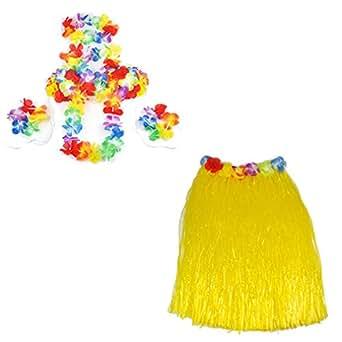 Smallwise Trading Hawaiian Grass Skirt Flower Hula Lei Garland Fancy Dress Costume 5pcs Set (Yellow)