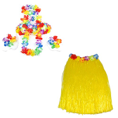 Imagen de smallwise trading hawaiian grass skirt flor hula lei guirnalda disfraz 5pcs set amarillo