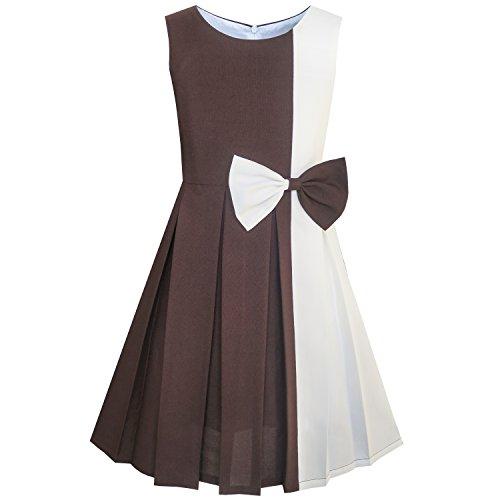 Mädchen Kleid Farbe Blockieren Kontrast Bogen Binden Everday Gr. 134