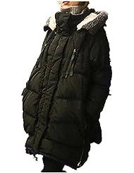 Frauen Winter Dick reichlich locker Mitte Lange Down Jackenmantel Outwear Daunenjacke Wintermantel Warm Damen Frauen schwarz