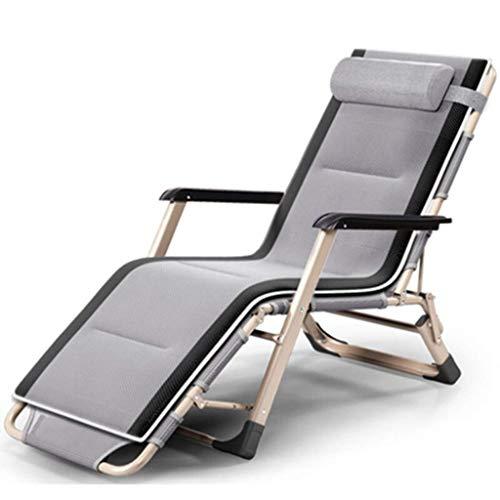 DaQingYuntur Lounge Chair Mittagspause Klappstuhl tragbares Klappbett, Außenstrandstuhl, tragbarer multifunktionaler Liegestuhl, atmungsaktiver Stoff, zum Spielen gehen (Farbe : Gray)