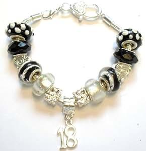 Bracelet à breloques style perles Pandora spécial anniversaire 18 ans.Cadeau idéal
