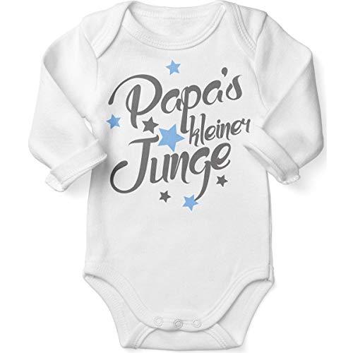 Mikalino Babybody mit Spruch für Jungen Mädchen Unisex Langarm Papas Kleiner Junge | handbedruckt in Deutschland | Handmade with Love, Farbe:Weiss, Grösse:56