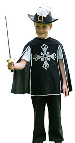 Halloweenia - Jungen Musketier Kostüm, Karneval, Fasching, Halloween, Schwarz, Größe 98-110, 3-5 Jahre (Viktorianischen Ära Kostüme Für Kinder)