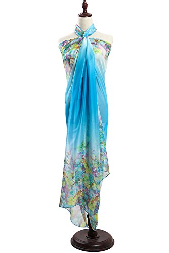 PB-SOAR Women's Ladies Flower Sarong Pareos Wrap Beach Cover Up Swimwear Pareo Dress, large and soft