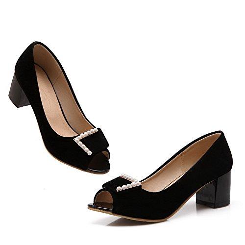 VogueZone009 Femme Couleur Unie à Talon Correct Ouverture Petite Tire Chaussures Légeres Noir