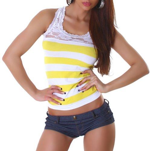 BX Damen Shirt Top Trägertop Tanktop mit Spitzen-Details gestreift Gelb-Weiß