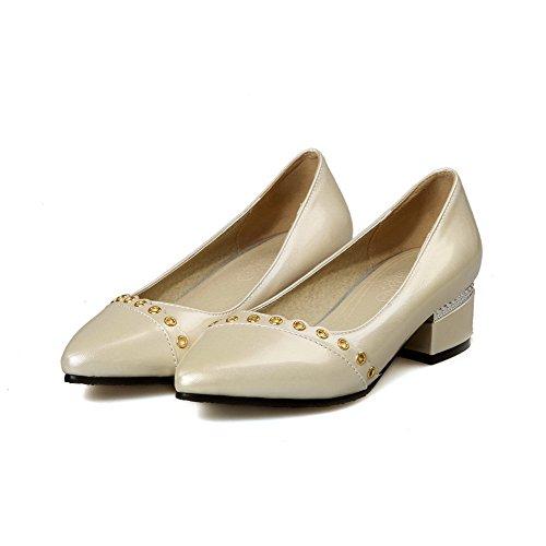 AllhqFashion Damen Ziehen Auf Spitz Zehe Niedriger Absatz Eingelegt Pumps  Schuhe Aprikosen Farbe