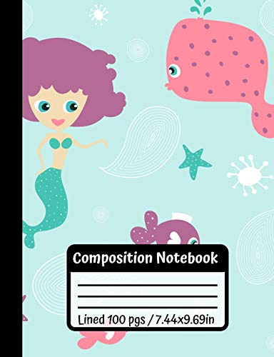 Mermaid Tail Skirt - Composition Notebook: Mermaid & Cute Fishes,