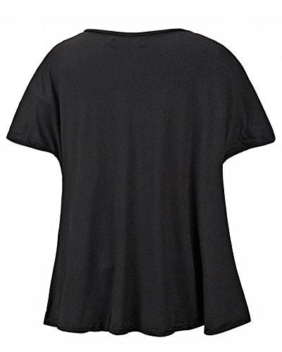 Damen Spitzenbluse Tops T-Shirt Spitze Lässige Frauen kurze Ärmel Schwarz